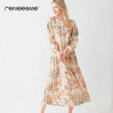 new women summer dress loose floral print long sleeve o neck bohemian chic pleated ladies dresses elegant holiday beach vestidos