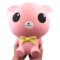 Bow Bear Big Jumbo Squishy Huge Squishes Slow Rising Toys Soft PU Giant Animal Squish Relief Antistress Kids Gift 25cm