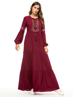 The new fashion simple embroidered dress Muslim national style gown loose dress