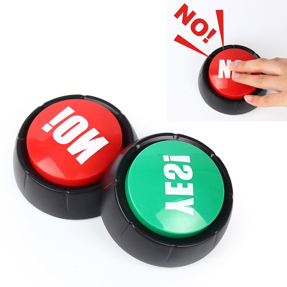 Electronic Round Squeeze Box Toy Sound Button Yes No Button Sound Toys Party Tools Supplies Sounding Toys Holiday Decorations