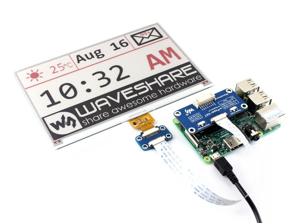7.5 pouces e-Papier CHAPEAU (B) 640x384 E-encre Affichage Module Trois-couleur SPI interface avec exemples pour Raspberry Pi/Arduino/STM32