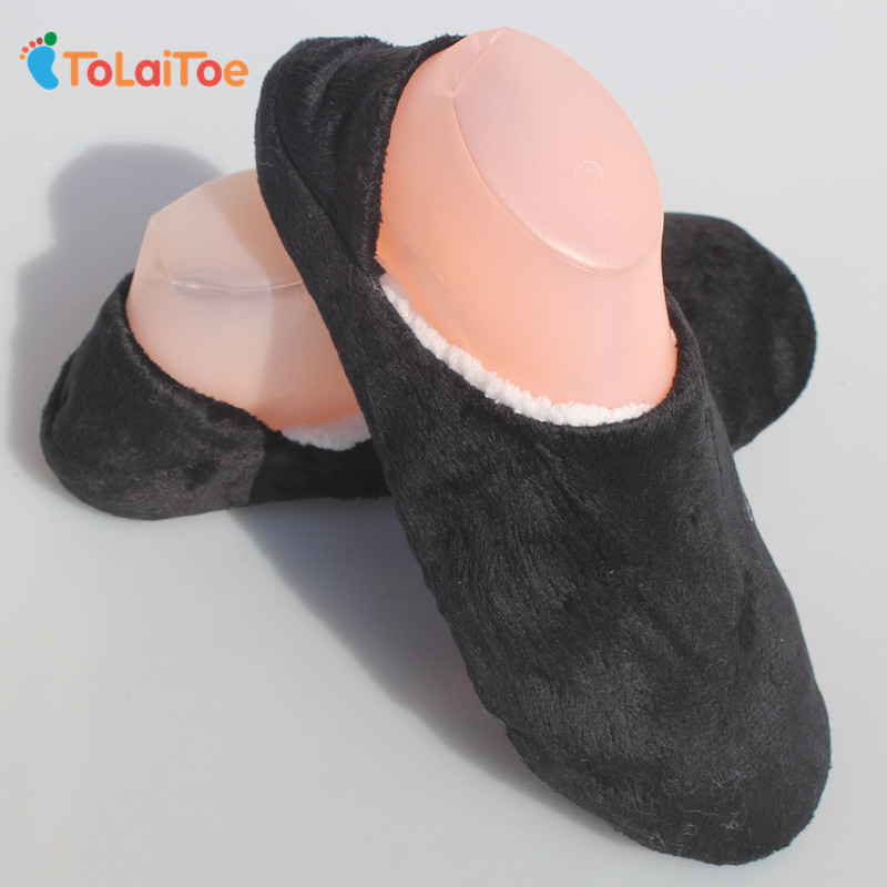 ToLaiToe Cheap Price Solid Color Men House Slippers Warm Soft Sole Mens Indoor Floor Slippers/Shoes Flannel Home Slippers soft house coral plush slippers shoes white