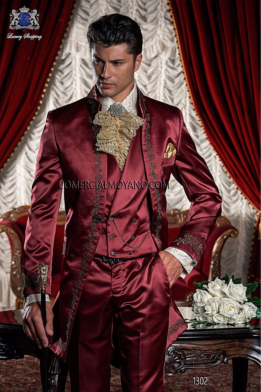2017 Latest Coat Pant Designs Italian Burgundy Satin Embroidery Men Suit Jacket Prom Blazer Slim Fit Custom 3 Piece Tuxedo Terno