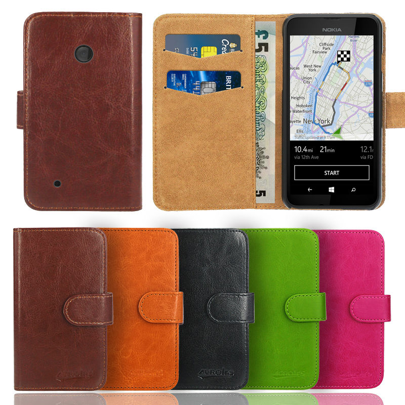 Чехол для Nokia Lumia 530, премиум кожаный флип Бумажник Книга Подставки сумка обложка + Экран протектор и ткань (5 видов цветов)