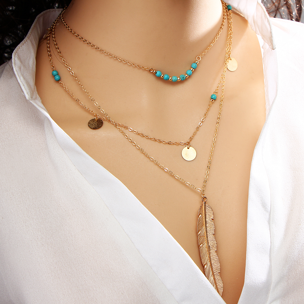 17km fashion turquoise necklaces for women multi layer leaf chain bohemian choker jewelry body chain jewellery