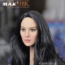 KUMIK18-31 1:6 Scale Female Head Sculpt Black Hair Head Carving Model Toys for 12 inches Woman Action Figure Body Accessory 1 6 beautiful head model female head sculpt black widow 2 0 long hair female head carving for 12 action figure toys collection