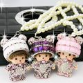 Panda head Kiki Girls Car Rear view mirror Pendant Pearl Diamond Ornaments  Monchichi Car Accessories (send a pearl chain)