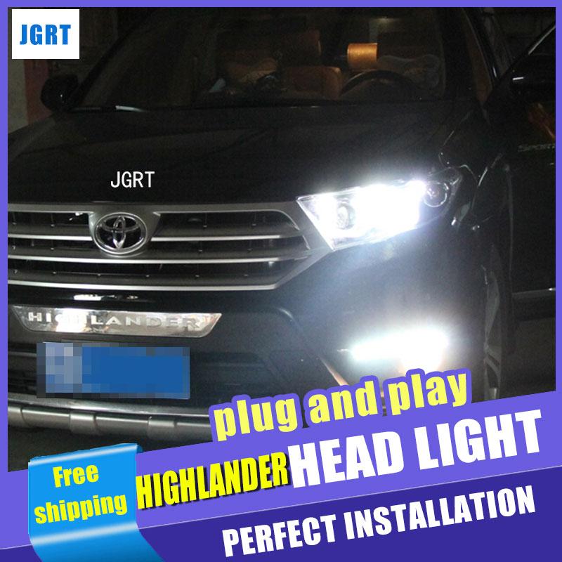 Авто Стиль освещения светодиодные лампы головного света для Тойота Хайлендер светодиодные фары сборки 2012-2014 двойной U DRL фары H7 с HID комплект 2 шт.