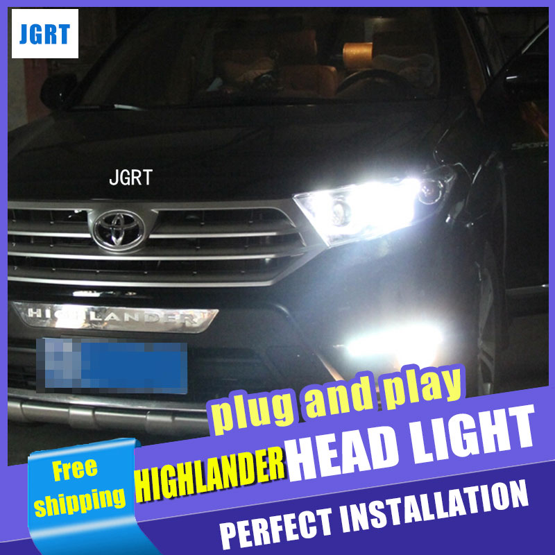 Auto Lighting Style LED Head Lamp for Toyota Highlander led headlights 2012-2014 double U drl H7 hid Bi-Xenon Lens low beam auto clud style led head lamp for benz w163 ml320 ml280 ml350 ml430 led headlights signal led drl hid bi xenon lens low beam
