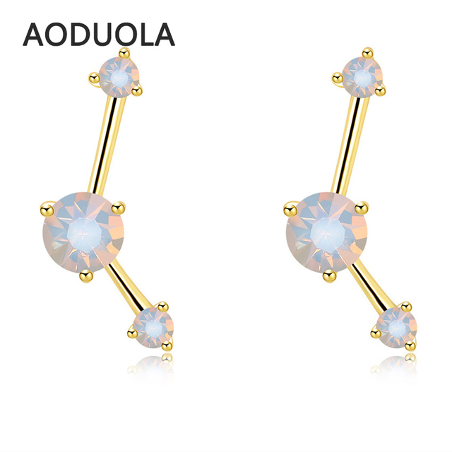 2017 New Gold Color Less Than No Shape Stud Earrings With Opal For Women
