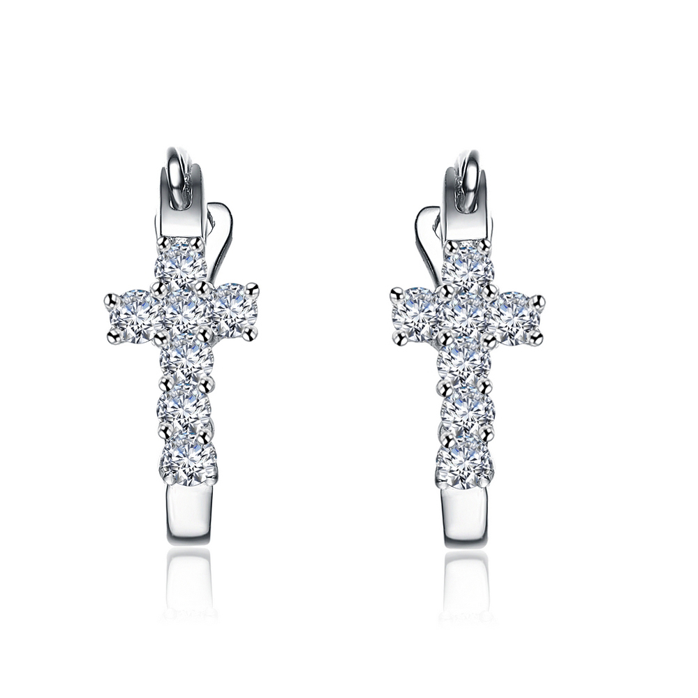 Aliexpress Cross 0 2carat Natural Diamond Earrings Hoop Jewelry For Women Very Good Cut 18k White Gold Si I J From Reliable