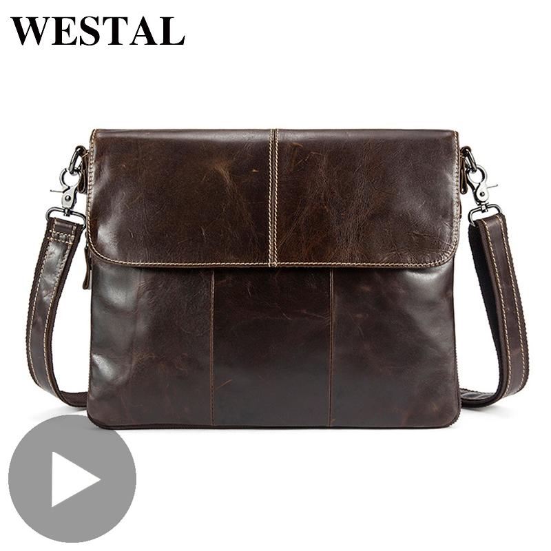 Westal Genuine Leather Shoulder Business Messenger Women Men Bag Briefcase For Document Office Handbag Male Female Portafolio