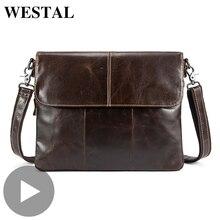 Westal Genuine Leather Shoulder Business Messenger Women Men Bag Briefcase For Document Office Handbag Male Female Portafolio