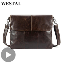 Westal bandolera de cuero genuino para hombre y mujer, maletín para documentos, bolso de oficina, Portafolio