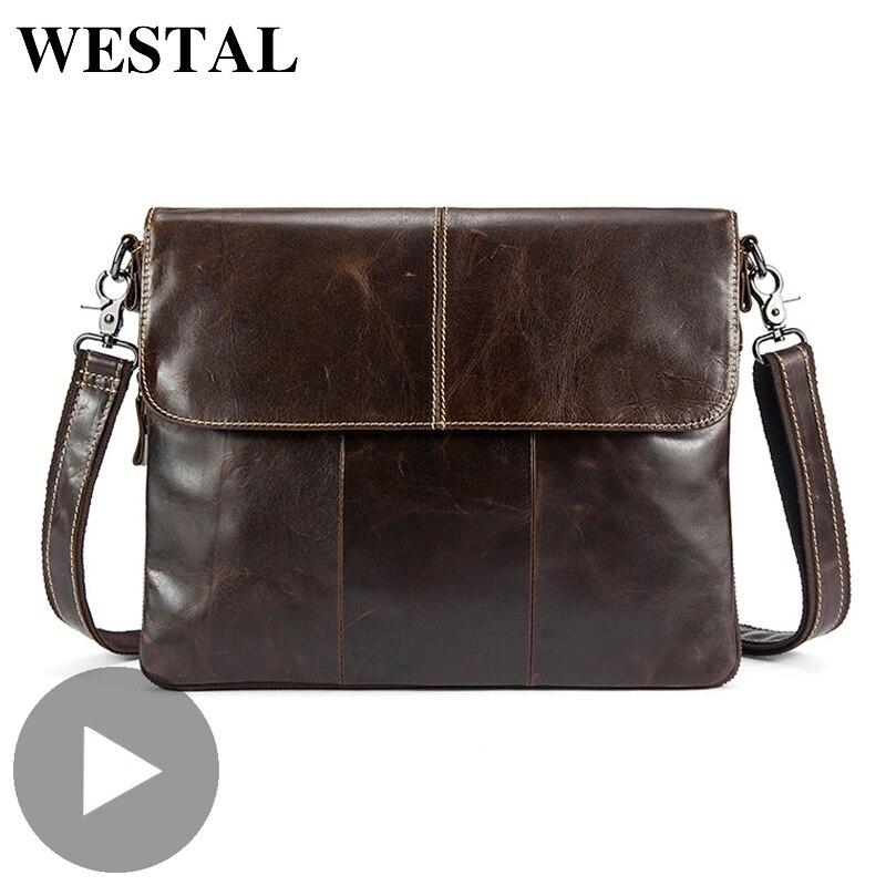 Westal جلد طبيعي الكتف الأعمال رسول النساء الرجال حقيبة حقيبة للمستند مكتب يد الذكور الإناث Portafolio-في حقائب جلدية من حقائب وأمتعة على  مجموعة 1