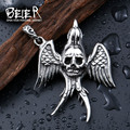 Beier 316L Stainless Steel pendant necklace punk new skull pendant angel feather Fashion  jewelry  BP8-197