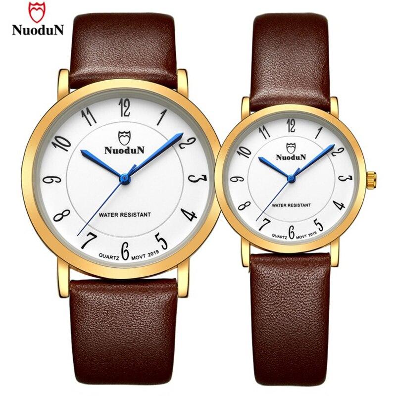 Brand Simple Watch Men Women Nuodun Fashion Casual Quartz Watches Couple Wristwatch Waterproof Clock Leather Band Male Relogio
