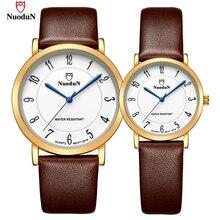 Buy Nuodun Lovers' Luxury Brand Watch Women Men Stainless Steel Wristwatch Leather Watchband Quartz Watches Reloj Mujer 2019GL directly from merchant!