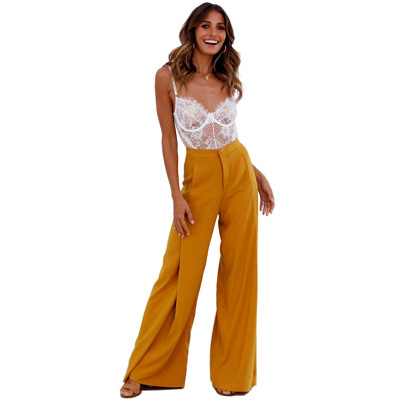 <font><b>2018</b></font> <font><b>Women</b></font> <font><b>Pants</b></font> <font><b>Sexy</b></font> Elegant comfortable Ginger Frill high waist wide leg casual <font><b>pants</b></font> Pure Color personality OL Trousers image