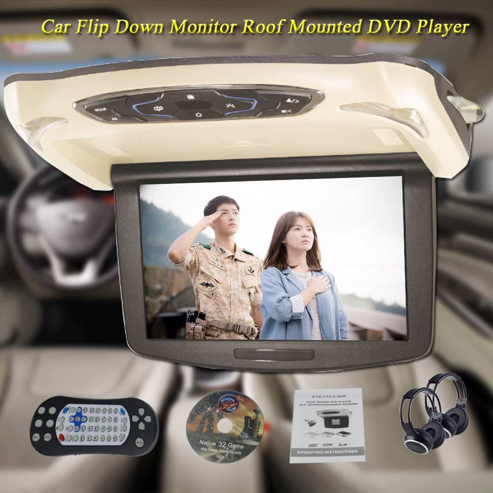 BigBigRoad 10.1 Inch LCD car HDMI Monitor Roof mount ceiling flip down Display connect car DVD Player For Lexus GX460 GX470