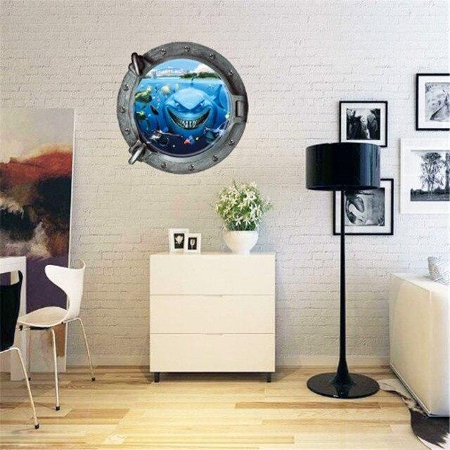 Sharks Ocean 3D Wall Stickers Parlor Bedroom Toilet Stickers Children Kids  Room Art Vinyl Mural PVC