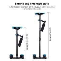Promotion Adjustable S60T Carbon Fiber Tube 60cm Handheld DSLR Video Camera Stabilizer Compact Steadycam Mini Steady