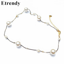 Fashion Big Small Pearl Chain Short Necklace For Women 2019 Trendy Bridal Party Wedding Choker Jewelry All Match