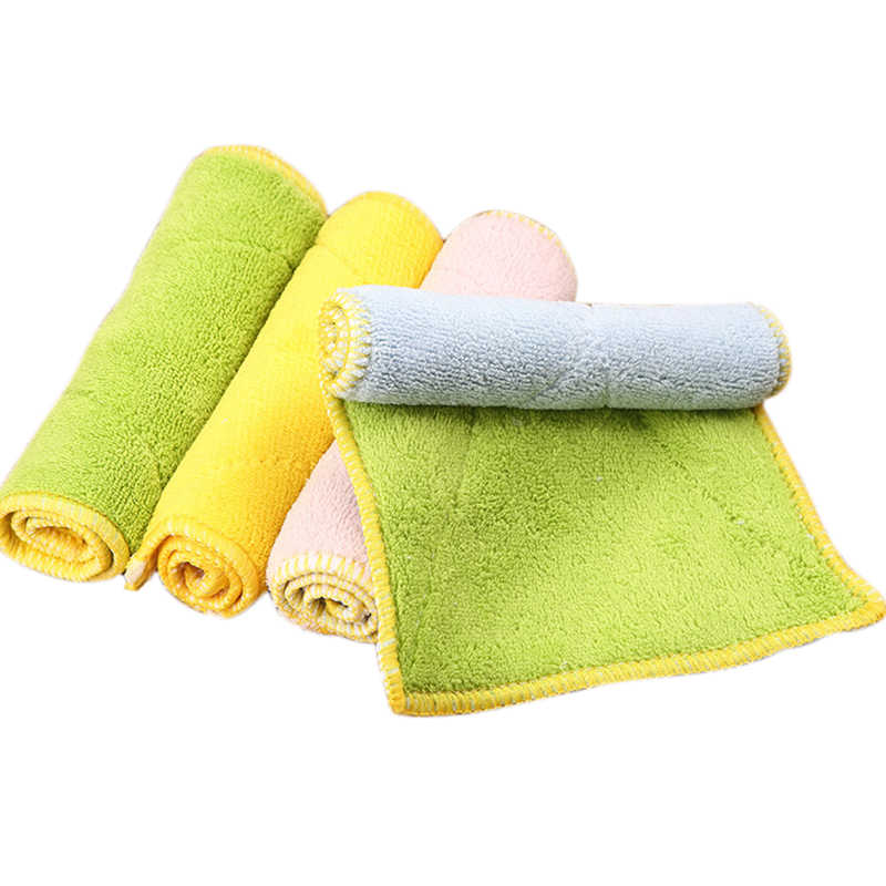 Brand New High Quality Double-sided Microfiber Dish Towels Thickening Cloth Dish Nonstick Oil Absorbent Kitchen Towels