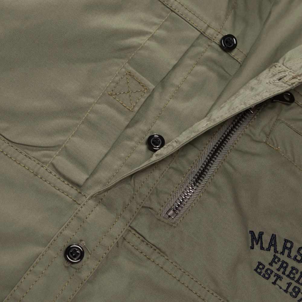 Fredd Marshall 2019 Thời Trang Quân Đội Áo Sơ Mi Tay Dài Nhiều Túi Cổ Áo Sơ Mi Thương Hiệu Quần Áo Xanh Lá Quân Đội Camisa Masculina 117