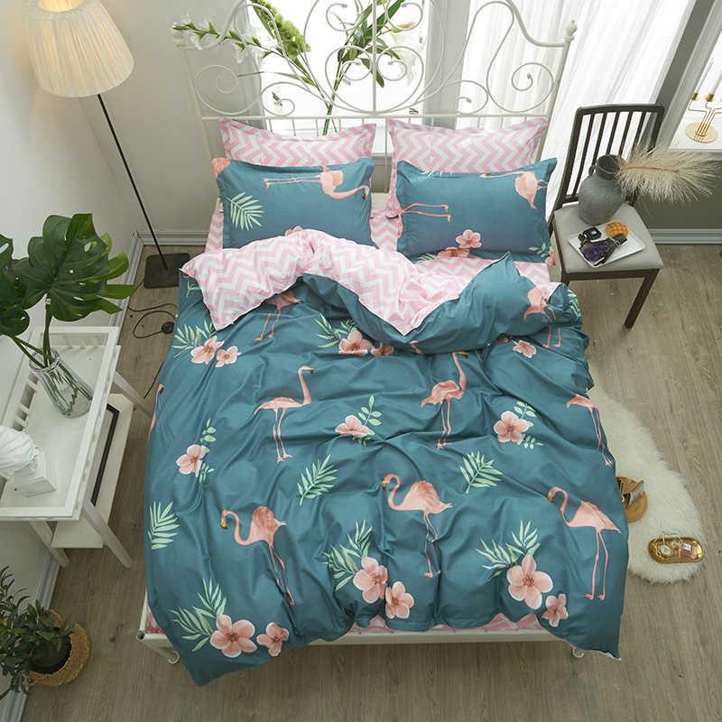 Hewan Burung Unta Set Tempat Tidur Biru Sarung Quilt Duvet Cover Set Pink Gelombang Sprei Sarung Bantal Halaman Gaya Seprai