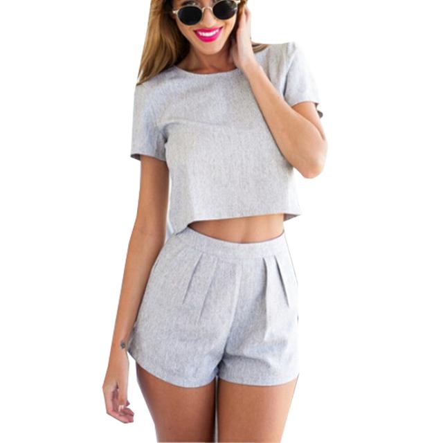 Vestidos estilo verão 2017 casual playsuits macacão top além disso cortar tamanho mulheres dois outfits peça manga curta bermuda cinza