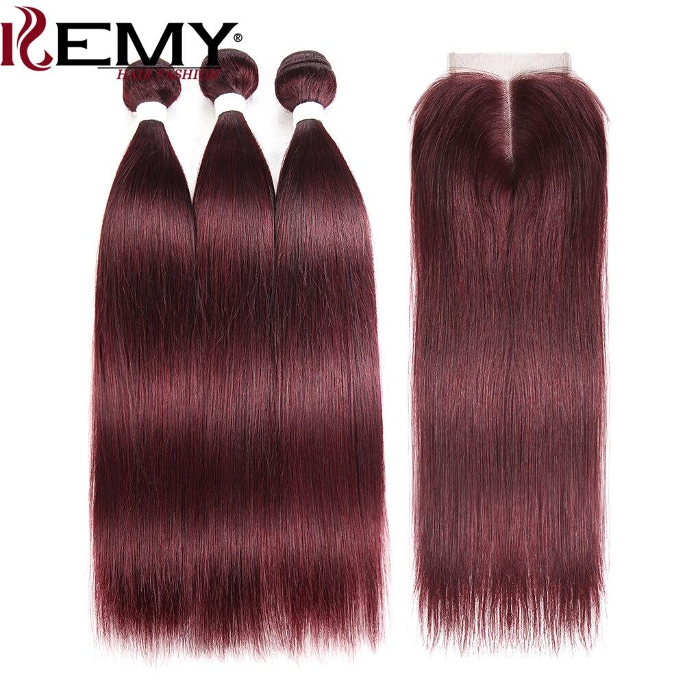 99J/בורגונדי שיער טבעי חבילות עם סגירת 4*4 שאינו רמי אדום צבע ברזילאי ישר שיער טבעי Weave חבילות 3 יחידות KEMY שיער