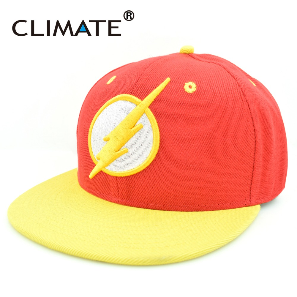 CLIMATE DC The Flash Man HipHop Baseball Snapback Caps Hat 3D logo Letter Heros Red Yellow Color Adjustable For Adult Men Women climate men cool 3d u it logo black baseball caps sport striking nice cap unisex adjustable pink navy 3d logo hats for men women