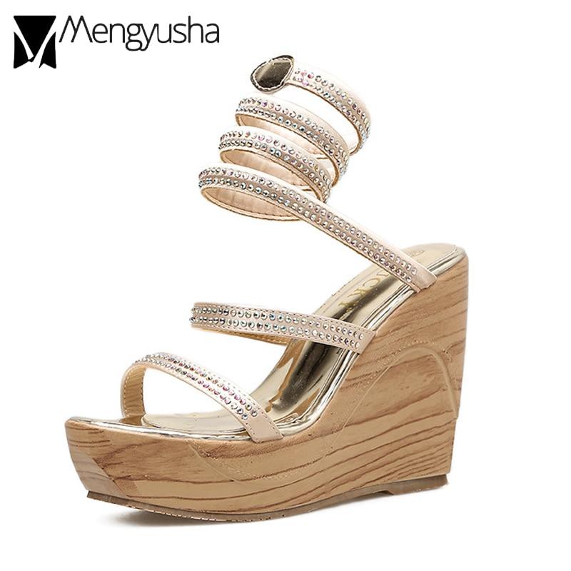 1b88dfdd7d0 2018 summer wedges snake shape roman sandals gold silver crystal narrow  band platform sandals lady wood grain gladiator sandals
