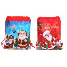 NoEnName_Null High Quality Merry Christmas/Santa Claus Theme Drawstring Gifts Bags Cinch Sack Kids Favors Baby Backpack