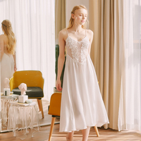 Honeymoon Travel Nightgown Sleepwear Elegant Nightdress Lady Lace Sexy Chemise Homewear Summer Maxi Night Dress Silk Sleep Dress