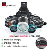 IR sensor USB 3* LED headlamp XML T6 high power headlight use 18650 battery focus head light lamp waterproof head torch