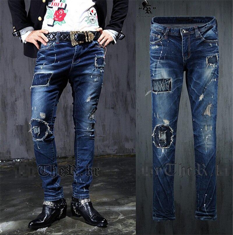 men ripped jeans 2015 NEW spring autumn fashion Vintage Casual graffiti hip hop men jeans Slim