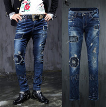 men ripped jeans 2015 NEW spring autumn fashion Vintage Casual graffiti hip hop men jeans Slim fit Hole male jeans
