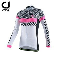 2017 Mulheres Cheji Ciclismo Esporte Jersey Top Outono de Manga Comprida Ciclismo Roupas ropa ciclista mtb Bicicleta Jersey Bicicleta Roupas