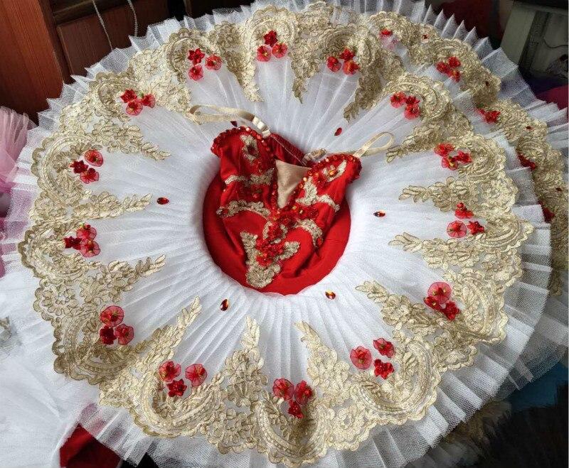 Rouge filles adulte paillettes justaucorps robe de Ballet crêpe Tutu ballerine Costume danse lyrique Costume cygne Ballet danseur robe porter