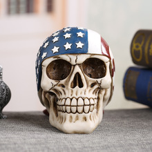 MRZOOT Resin Craft Home Decorations Skeleton Skull American Flag Personalized Ornaments Fashion Decor