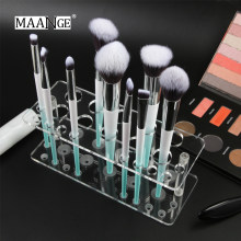 MAANGE 20 Holes Acryli Cosmetic Display Stand Makeup Brushes Holder Professional Clear Make Up Drying Rack Organizer Shelf Tools(China)