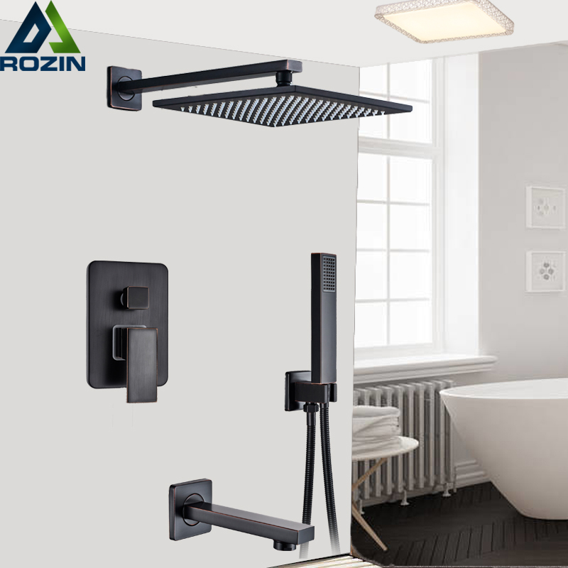 bathroom shower valve hot and cold mixer faucet tap 3 way concealed black brass
