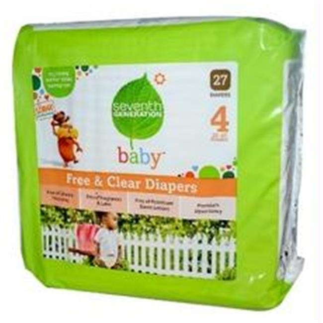 Seventh Generation B07101 Seventh Generation Baby Free And Clear Diapers Stage 4: 22-37 Lbs -4x27ct seventh generation nat paper towels 120 cnt 120 count