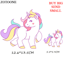 ZOTOONE Unicorn Patch Cartoon Iron On Transfer Animal Patches For Children Girl Clothing DIY T-shirt  Applique Thermal Press D