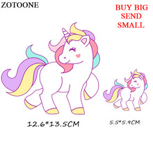 ZOTOONE Unicorn Patch Cartoon Iron On Transfer Animal Patches For Children Girl Clothing DIY T-shirt Applique Thermal Press D(China)
