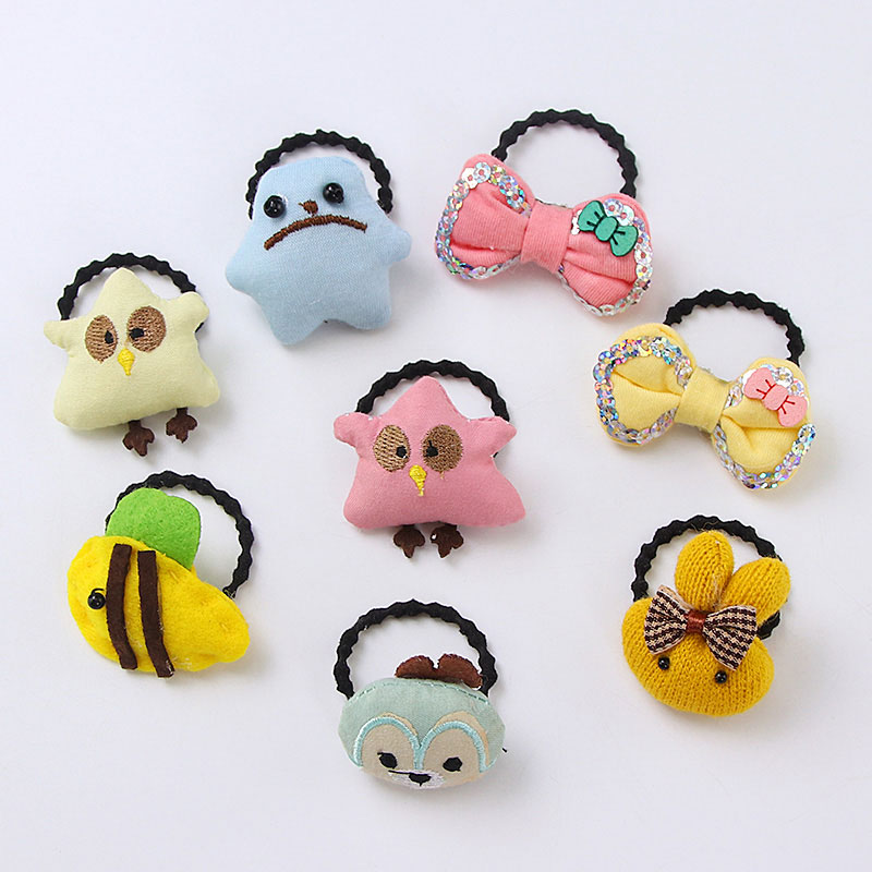 Winter Cute Girls Cotton Cartoon Bow Animal Elastic Hair Bands Ponytail Holder Ornament Headbands Hair Accessories Rubber Bands 4pcs ponytail creator plastic diy hair styling tools black hair bands for girls hair braid accessories bun maker girls headbands