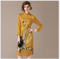 Женское платье осень элегантный длинный отрезок Slim Fit Solid платье с вышивкой 2018 Новое Женское модное платье с круглым вырезом и длинными рука
