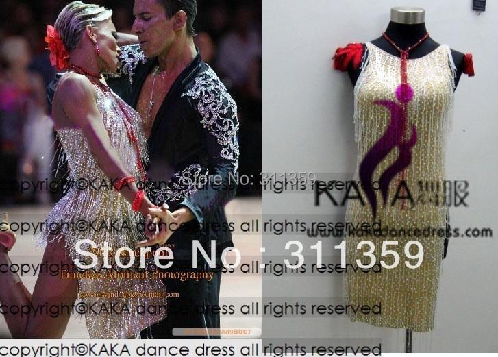 Новое поступление, платье с отделкой бисером и бахромой, KAKA-L130363, ткань lycar, одежда для латинских танцев, танго, сальсы, самбы, румбы, чача, платье для латинских танцев